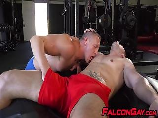 Muscly Gay Jocks Pumping Their Love Muscles At The Gym Giving Each Other Blowjobs And Rimjobs Craving To Have An Orgasm
