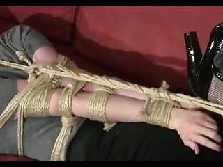 Struggling In Hogtie On The Couch