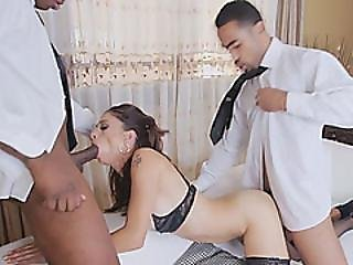 Eva Long Enjoys Two Juicy Black Cocks Deep In Her Love Holes