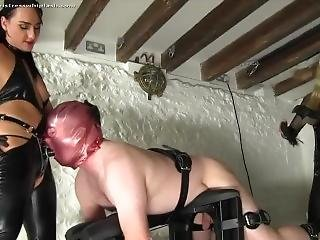 Nikki Whiplash And Friend Fuck Up A Guy With Strapons (very Cruel Cumshot)