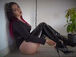 Extreme Black Crotch High Suspender Boots