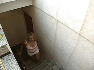 Bbw blowjob on the stair