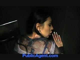 PublicAgent Big Boobs big Butt fucked in public toilets