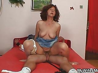 She Finds Her Old Mom Is Riding Her Hubbys Dick