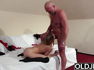 Old Young - Blonde Blowjob And Doggystyle Fuck From Grandpa Young Girl Sex