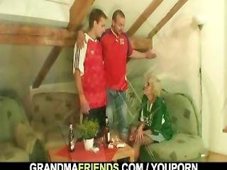 Granny Football Fan Swallows Two Cocks