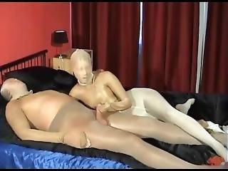 Multilayer Pantyhose Encasement Girl Gives Blowjob And Handjob