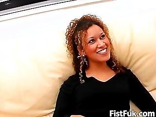 Curly Brunette Gets Her Craving Pussy