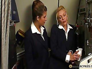 Two Stewardesses Suck Dick
