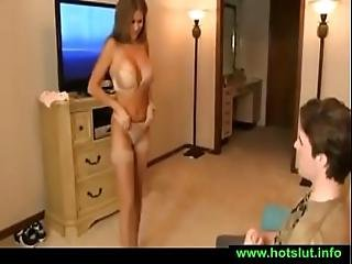 Hotwiferio Tanned Mother Catches Son Jerking Off To Her Video And Bangs