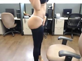 Beautiful Babe Strip And Solo Masturbation In Office