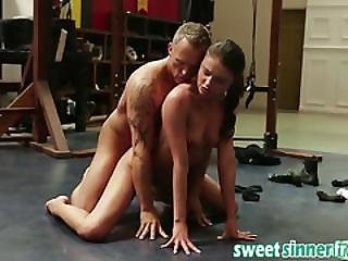 Brunette Chick Adria Rae Doggy Style Gym Big Cock