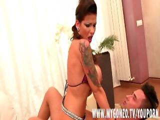 Tattooed German babe Jordan Night with big boobs gets fucked hard by Mugur