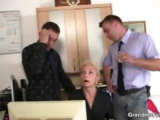 Two Guys Seduce Old Blonde