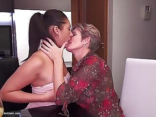 Mature Mom Fucks Teen Daughter On Kitchen