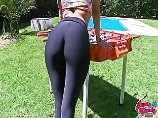Amazing Ass Busty Blonde Teen In Tight Lycras Hot Cameltoe Official Lowres Vid