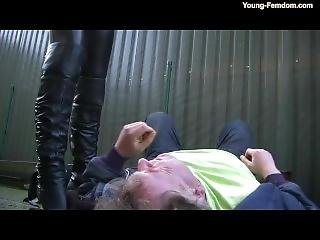 Young Biker Girl Boots Worship And Trampling