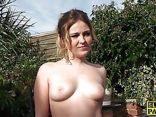Masturbating Slut Rough Fingerfucked Outdoors