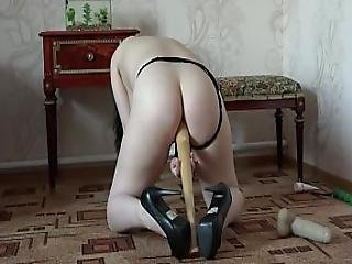 I In The Heels And Black Panties Masturbate My Pussy And Ass