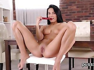 European Nymph Enjoys Bizzare Fuck Toy And Thursts Hefty Magic Wand In Cunt