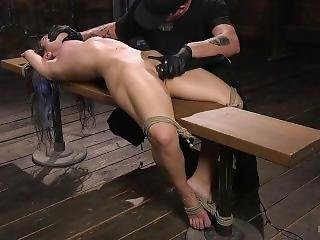 Naturally Busty Babe In Bondage