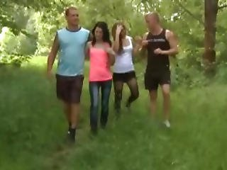 18 Virgin Sex Is Proud To Present You With The Lovely Sindy And Her Pal Sucking And Fucking In The Woods