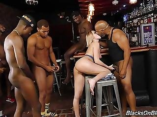 Bar Girl Kate England Offer All Three Holes To Black Gang