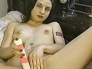 Cute And Petite Amateur Tickles Her Own Pierced Clit
