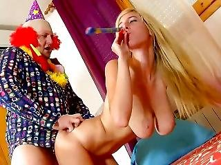 Spanish Birthday Girl Gets Fucked By A Clown