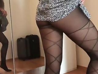Brunette Teen Twerks Her Ass Minidress Pantyhose Upskirt Thong Flashing !