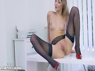 Office Slut Teases Upskirt In Nylon And Suspenders Then Panties Off To Wank