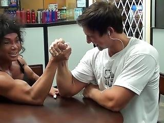 Fbb Armwrestles Guy With Huge Forearms