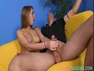 Teen Beauty Jerking Off Her Boyfriend