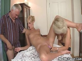 Old Couple Trick Their Son%27s Blonde Teenie