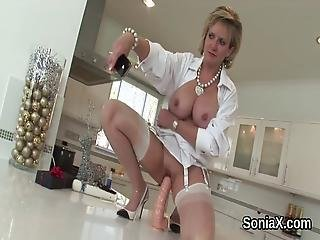 Unfaithful British Milf Lady Sonia Pops Out Her Massive Breasts