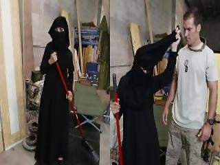 Tour Of Booty Muslim Woman Sweeping Floor Gets Noticed By Horny American Soldier