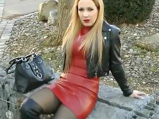 Leather Boots In Public And Jacket Leather