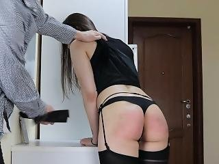 Spanked And Fucked Submissive Girl Wearing In Skirt And Stockings