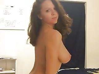 Girl Strips With Great Tits