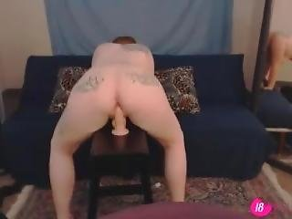 Young Tattooed Red Cumdumpster Aziana Chavez Rides A Dildo
