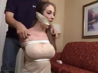 stort bryst, bondage, hogtied, bundet