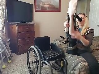 Paraplegic Putting On Leg Braces
