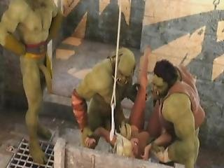 3d Bitches Annihilated By Brutal Orcs!