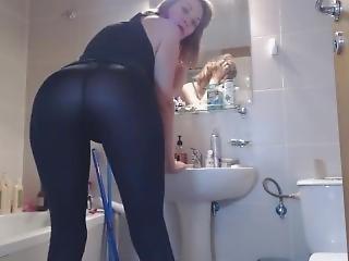 amatør, røv, babe, badeværelse, stor røv, blond, fetish, sexet, alene, drilleri
