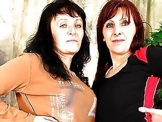 Gorgeous Granny Lesbian Martina Makes Jana Cum