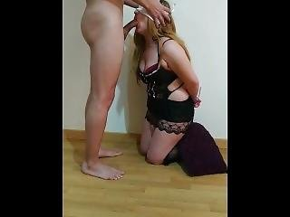A Special Blowjob For My Steep-brother. No Hands. Handcuffed