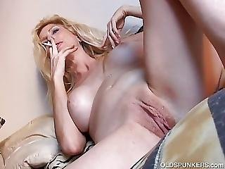 Sexy Old Spunker Has A Smoke And Plays With Her Juicy Pussy