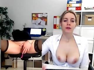 amatorski, w pracy, duże cycki, blondynka, kapelusz, masturbacja, milf, solo, zabawki, kamerka, miejsce pracy