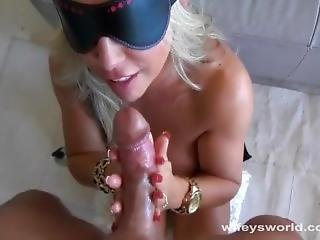 Blindfolded Woman Gets Handed