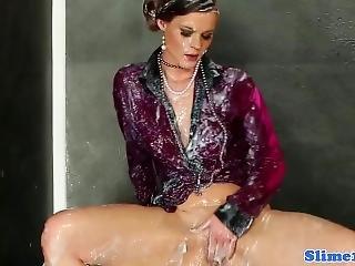 Glamour Babe Rubs Bukkakke Pussy At Gloryhole